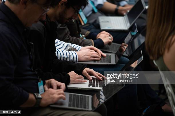 Tech writers take type on laptops during Amazon's release event for new Alexa products and services at The Spheres in Seattle on September 20 2018...