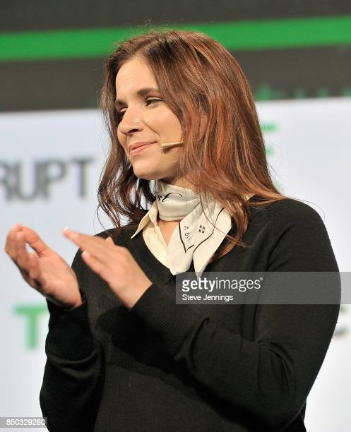 TechCrunch Director of Special Projects and Battlefield Editor Samantha Stein speaks onstage during TechCrunch Disrupt SF 2017 at Pier 48 on...