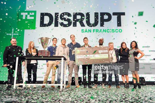 TechCrunch Editor in Chief Matthew Panzarino, Jordan Crook, winner of Battlefield, 'Forethought,' and Tech Crunch team onstage during Day 3 of...