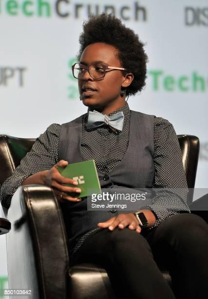 TechCrunch moderator Megan Rose Dickey speaks onstage during TechCrunch Disrupt SF 2017 at Pier 48 on September 20 2017 in San Francisco California