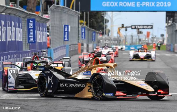 Techeetah's French driver JeanEric Vergne steers his car during the Rome EPrix leg of the Formula E season 20182019 electric car championship in the...