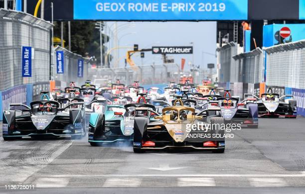Techeetah's German driver Andre Lotterer steers his car ahead during the Rome EPrix leg of the Formula E season 20182019 electric car championship in...