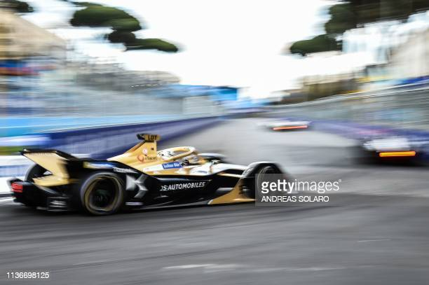 Techeetah's German driver Andre Lotterer steers his car during qualifications ahead of the Rome EPrix leg of the Formula E season 20182019 electric...