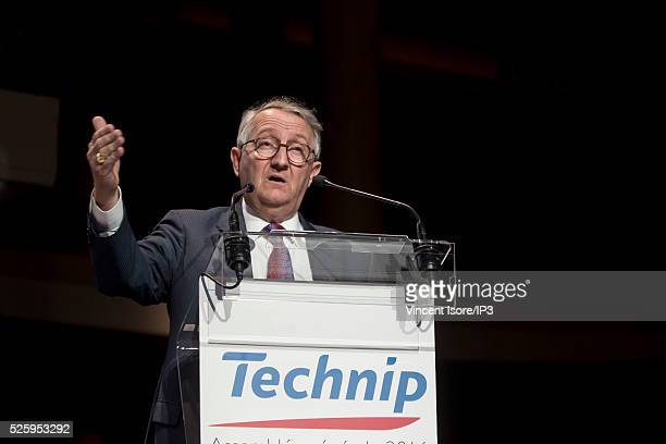Technic CEO Thierry Pilenko speaks during the general shareholders meeting of the French company on April 28 2016 in Paris France Technic is a firm...