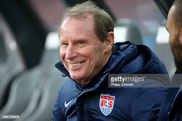 Technical adviser Berti Vogts of the USA smiles prior to the international friendly match between Switzerland and the United States at Stadium...