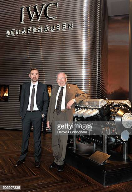 Technical Chief Stefan Ihnen and watchmaker Kurt Klaus at the IWC booth during the launch of the Pilot's Watches Novelties from the Swiss luxury...