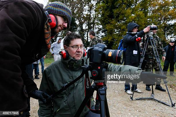 Technical Coordinator and director Daniel Mulson is seen during 'Les Rabatteurs' short movie filming on December 21 2013 in Cerny France