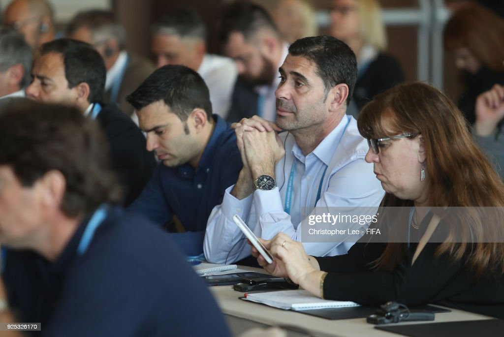 Technical Director Fernando Hierro of Spain listens in to the Technical Workshop during Day 2 of the 2018 FIFA World Cup Russia Team Workshop on February 28, 2018 in Sochi, Russia.