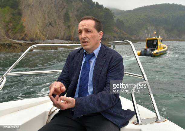 Technical Director of BIMEP Yago TorreEnciso speaks with journalists during a visit to Biskay Marine Energy Platform near the Spanish Basque city of...