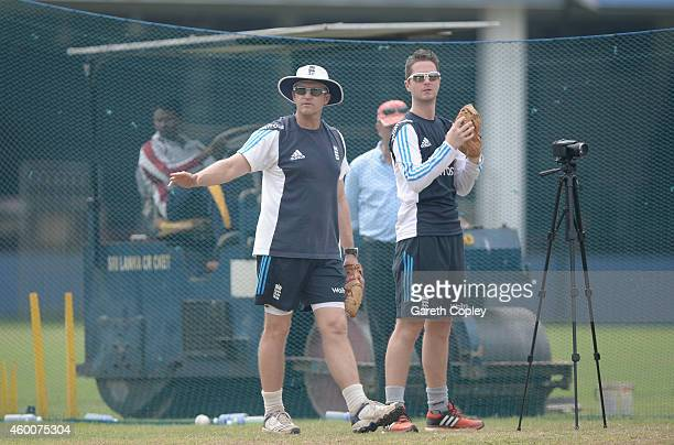 Technical Director of Elite Coaching Andy Flower with analyst Liam Sanders during a nets session at Colts Cricket Club on December 6, 2014 in...