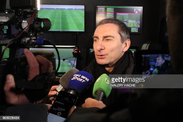 Technical Director of Refereeing in France Pascal Garibian speaks to journalists during a presentation of video assisted refereeing before the French...