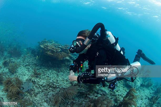 Technical diving equipment on shallow reefs.