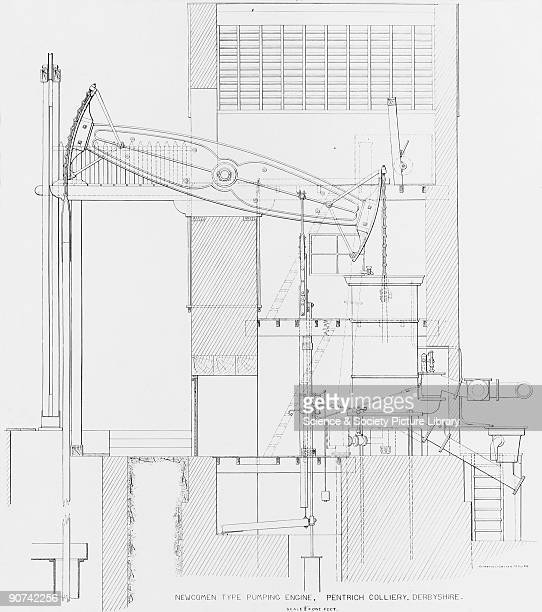 Technical drawing by Clarence O Becker showing the side elevation of an atmospheric engine at Pentrich Colliery Derbyshire based on a design by...