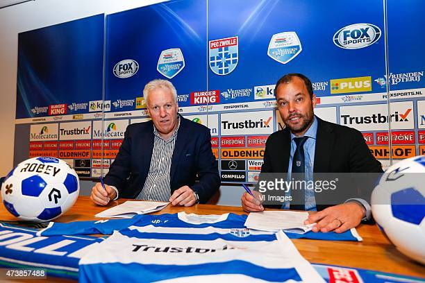 technical manager Gerard Nijkamp of PEC Zwolle signing new contract with Arie Kegel of Robey Sportswear during the Dutch Eredivisie match between PEC...