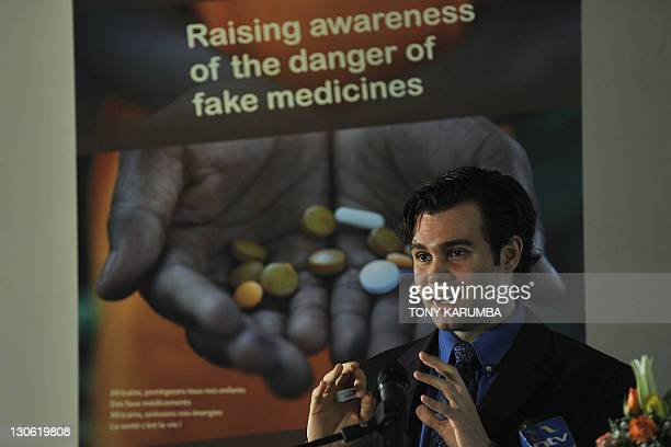 Technical officer at the Global Fund to Fight Tuberculosis AIDS and Malaria Silas Holland gives a press conference during the launch of a campaign to...