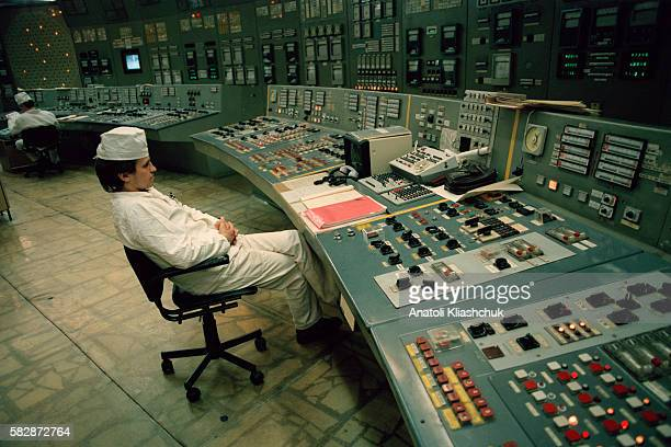 Technician at the Chernobyl nuclear power plant control room of reactor n° 3