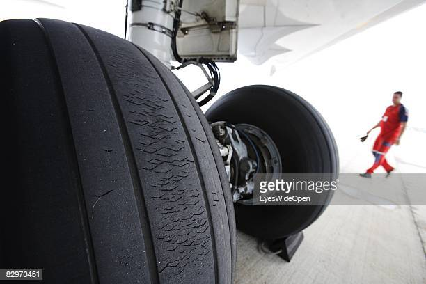 A technician controls a MD11 Aeroplane before start at the Ezeiza International Airport airport on August 30 2008 in Buenos Aires Argentina The...