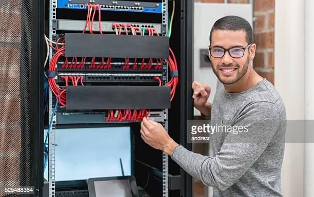 IT technician fixing intranet at the office