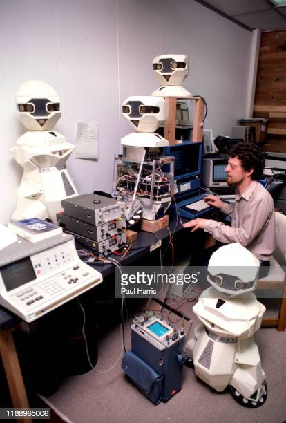 Technician Frank Jones works on TOPO a robot designed and built by Androbot Inc a company owned by Nolan Bushnell he founded Atari in 1972 and is...