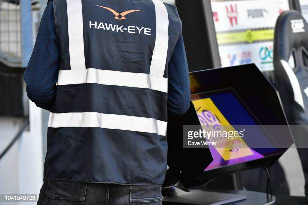 Technician from HawkEye who provide the VAR during the Ligue 1 match between Amiens and Rennes at Stade de la Licorne on September 26 2018 in Amiens...