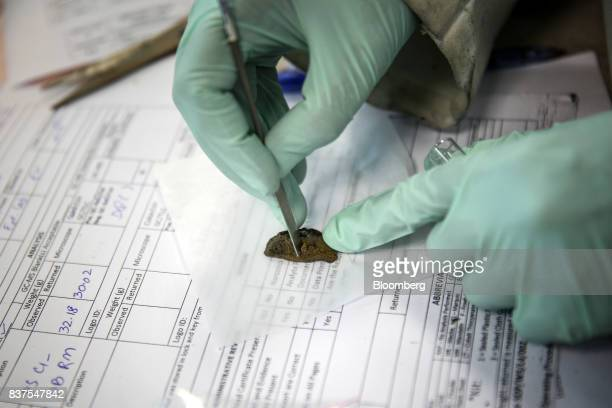 A technician handles a sample in a laboratory at the Narcotics Department of the Punjab Forensic Science Agency in Lahore Pakistan on Thursday June...