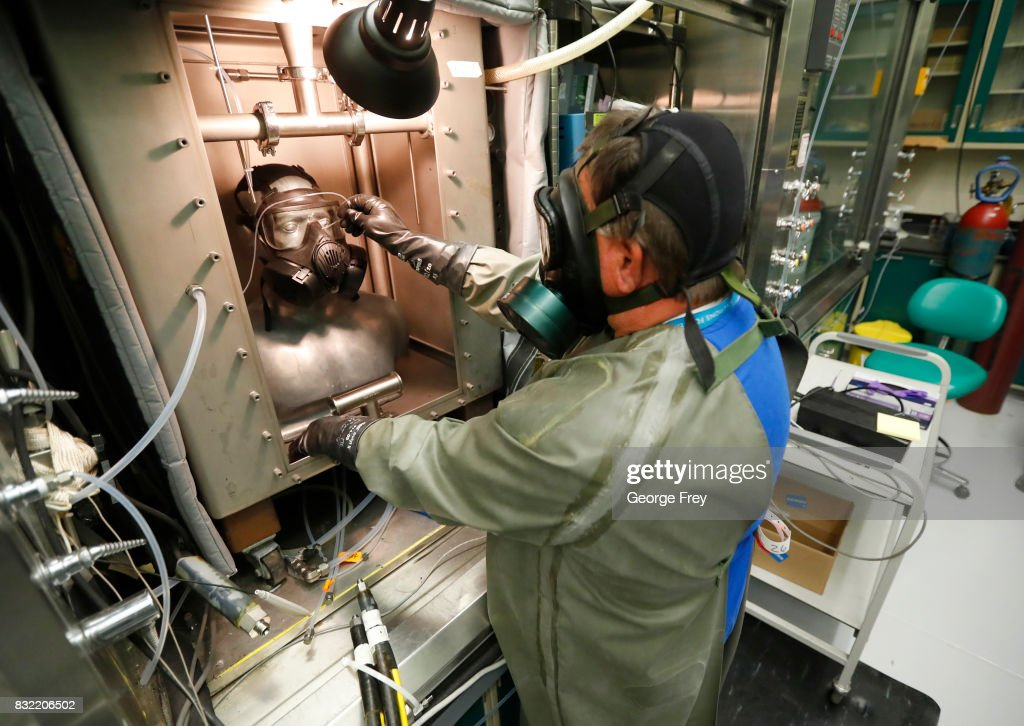 A technician in a gas mask takes measurement readings on the Smartman test dummy at the Smartman Laboratory facility at the U.S. Army's Dugway Proving Ground on August 15, 2017 in Dugway, Utah. Workers at this facility handle some of the most deadly and dangerous biological and chemical agents on earth. The 800,000-acre base in the middle of the Utah desert is a top secret facility that tests and develops defensive measures to counter the effects of biological and chemical agents that may be used against the United States.