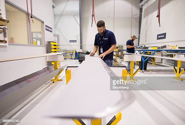A technician inspects helicopter rotors at the Airbus Helicopters Canada facility in Fort Erie Ontario Canada on Tuesday Aug 2 2016 Airbus...