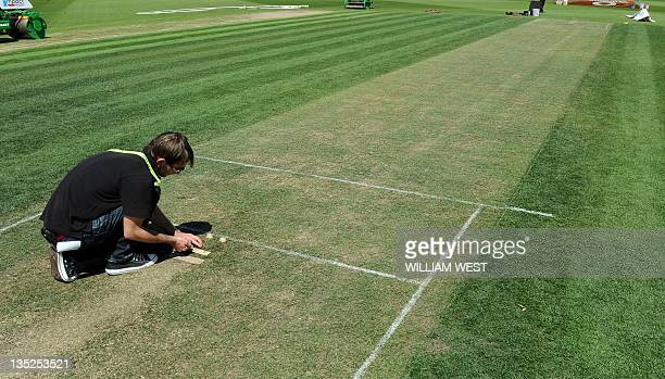 A technician installs the stump microphones on the bowlerfriendly green wicket at Hobart's Bellerive Oval on December 8 2011 New Zealand are...
