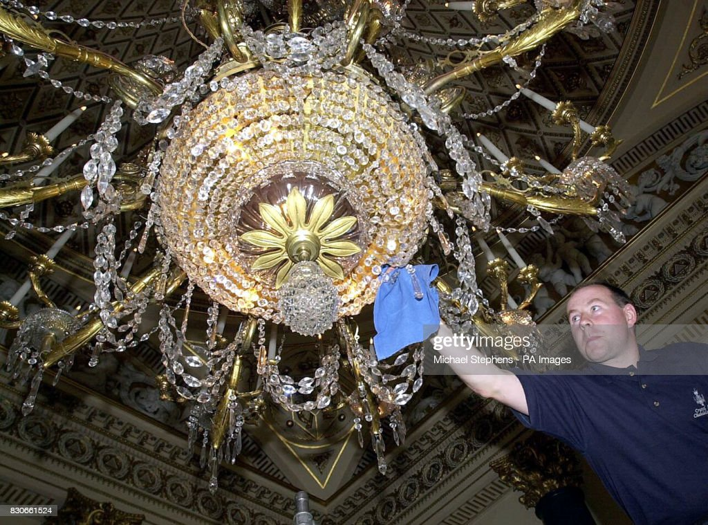 Royal prepartion chandelier pictures getty images technician mark boyd cleans the largest chandelier in the music room buckingham palace london aloadofball Gallery