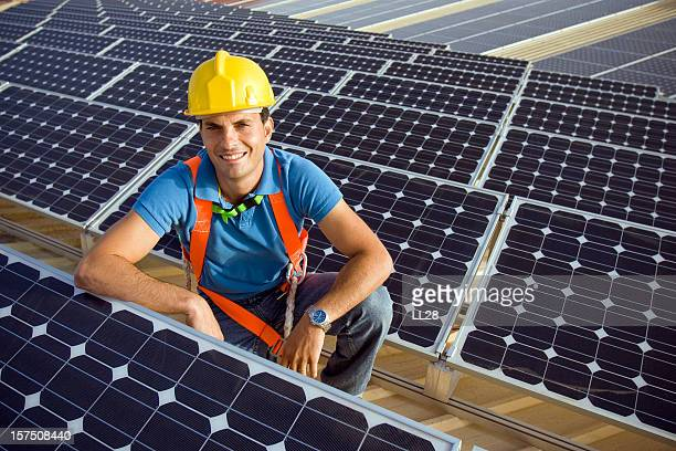 technician portrait - solar powered station stock pictures, royalty-free photos & images