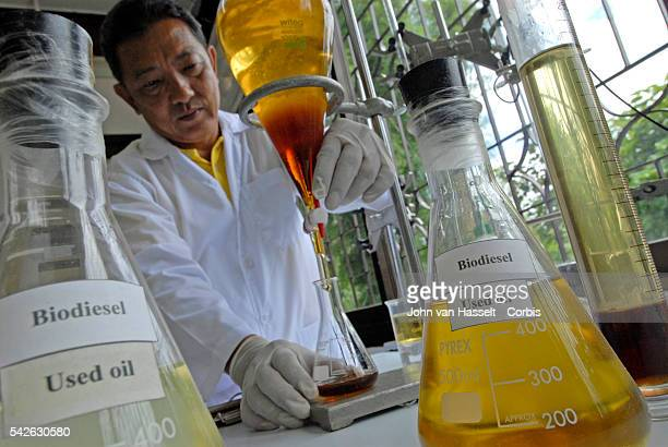 Technician Rueangwuth Chamwuthi checks a sample of raw material used cooking oil and glycerine to make biodiesel King Bhumibol of Thailand has been a...