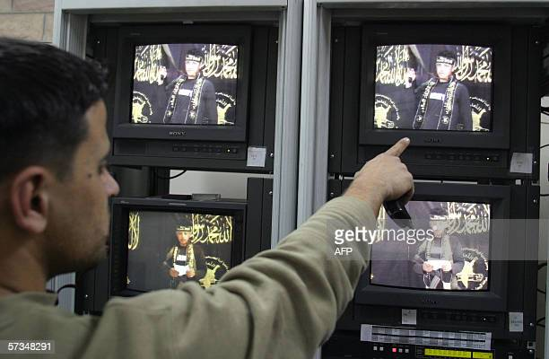 A technician working for a media company run the video tape showing suicide bomber Sami Salim Hamadah giving his last testimony prior to blowing...