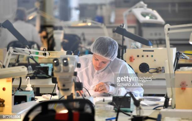 A technician works in the production unit of stents and catheters of the BALT company in Montmorency on June 7 2018 Since it was established in 1977...