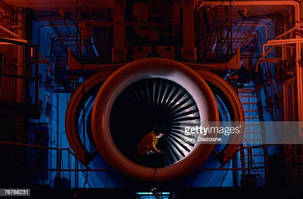 Technician/engineer in jet engine manufacturing plant
