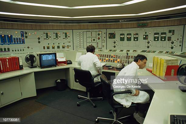 Technicians at work at Sellafield nuclear processing site in Cumbria December 1986