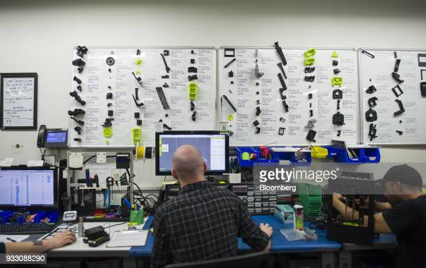 Technicians work on computers at the Aleph Objects Inc LulzBot 3D printers production facility in Loveland Colorado US on Wednesday March 14 2018...