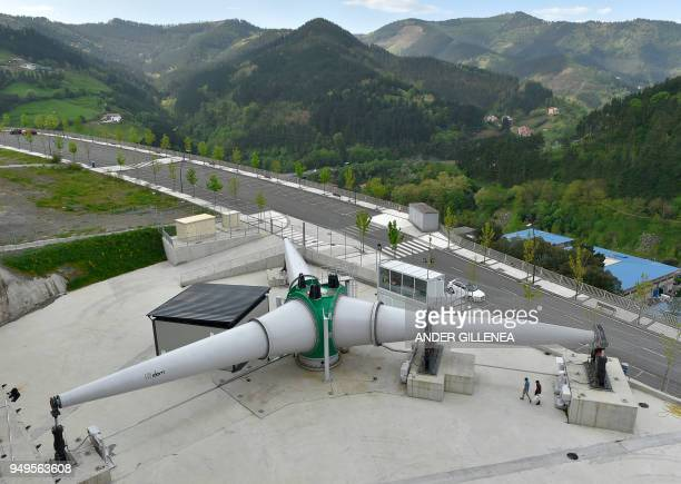 Technicians work with the test bench of the Windbox project in the Spanish Basque city of Eibar on April 20 2018
