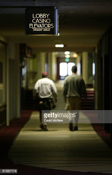 Technicians working the the set of the movie Domino walk through halls of the Ambassador Hotel best know as the site where Robert F Kennedy was...