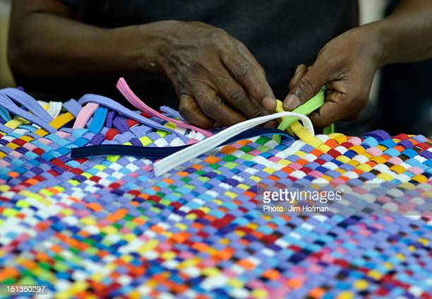 technicolor weaving - port au prince stock pictures, royalty-free photos & images