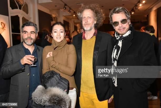 Technikart Editor in chief Laurence Remila, actress Gong Li, Technikart magazine publisher Fabrice de Rohan Chabot and Musician Jean Michel Jarre...