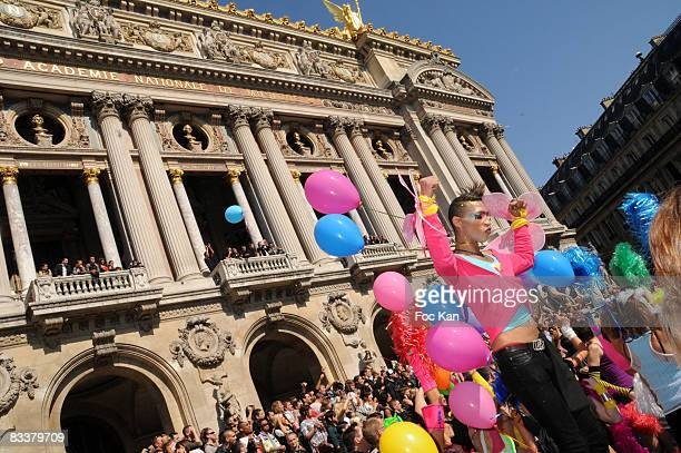 Techno Parade Atmosphere in front of Opera Garnier during the DJ Martin Solveig and Antoine Baduel receive the Chevalier des Arts et des Lettres...