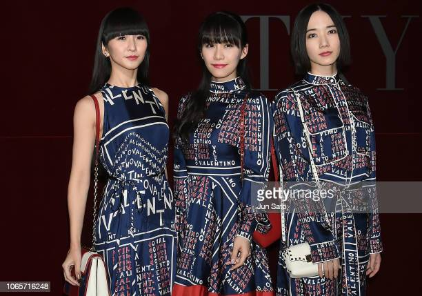 Techno pop group Perfume attend the photocall for Valentino TKY 2019 Pre-Fall Collection at Terada Warehouse on November 27, 2018 in Tokyo, Japan.