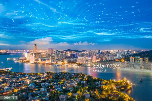 technological lines and city night view - fujian province stock pictures, royalty-free photos & images