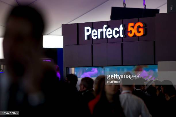 5G technology ad Thousands of people participate in the Mobile World Congress 2018 in Barcelona Spain from February 26 to March 1 2018