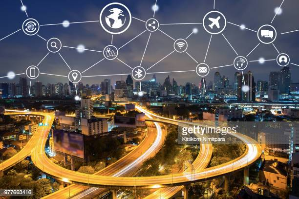 Technology and communication icon over cityscape.Network and connection concept.
