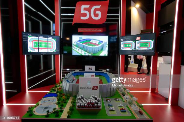 5G technology at the Mobile World Congress the world's biggest mobile fair on February 27 2018 in Barcelona The Mobile World Congress is held in...
