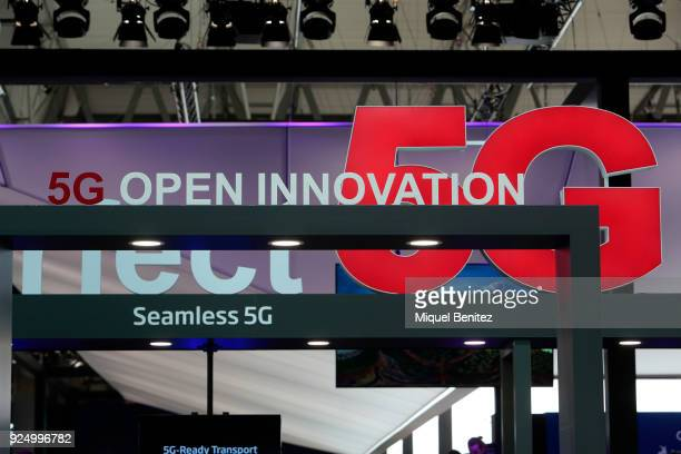 Technology at the Mobile World Congress the world's biggest mobile fair on February 27 2018 in Barcelona The Mobile World Congress is held in...