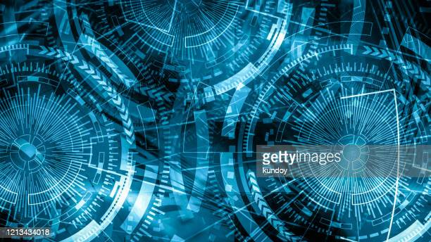 technology background concept. abstract blue background. double exposure of computer hologram on black background. - composizione digitale foto e immagini stock