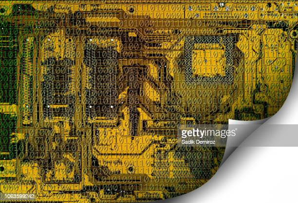 Technology concept of computer circuit board with binary code curled up from corner over white