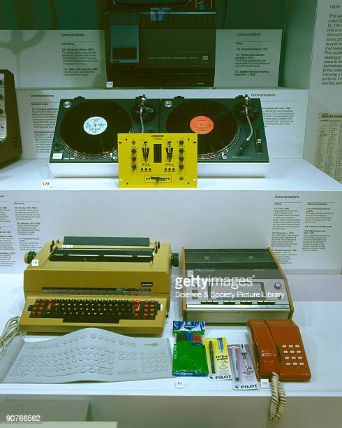 Technology in Everyday Life 19682000' display case in the 'Making the Modern World' gallery Science Museum London Photograph taken April 2000 Display...